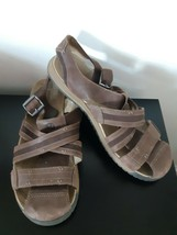 Merrell Leather Sandals Sz 14 US Closed Toe Buckle Espresso Brown Hiking Walking - $34.60