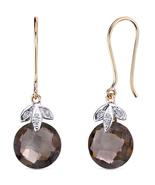 10K Two Tone Gold 7.00 Carat Smoky Quartz Diamond Earrings - $229.99