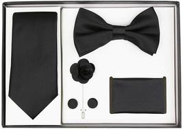 Berlioni Men's Handmade Microfiber Tie Bowtie Lapel Hanky Cufflinks Gift Box Set image 3