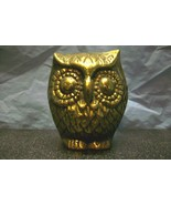 "HEAVY SOLID BRASS OWL 2-3/8"" HIGH PAPERWEIGHT NICK KNACK BIRD STATUE FIG... - $12.00"
