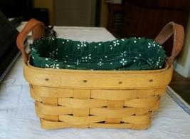 Longaberger Basket 1998 -Leather Handles, Cloth Lining Insert  - $14.50