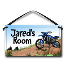 "Kids Door Sign, Dirt Bike, 5.5"" x 10.5"", Personalized Bedroom Plaque - $13.00"