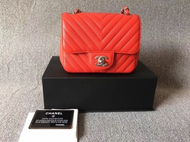 AUTHENTIC CHANEL RED CHEVRON QUILTED CAVIAR SQUARE MINI CLASSIC FLAP BAG SHW
