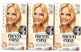 3 Boxes Clairol Nice N Easy Repair Plex 10A Extra Light Ash Blonde Hair Dye  - $26.99