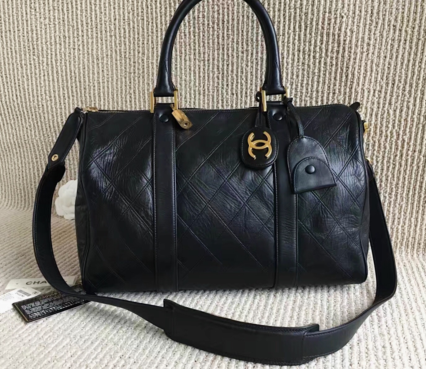 cc quilt wide chanel s quilted trim a cambon that up your tote pink light easy store itm to discount leather handbags order pick ligne receive it looking black in bag