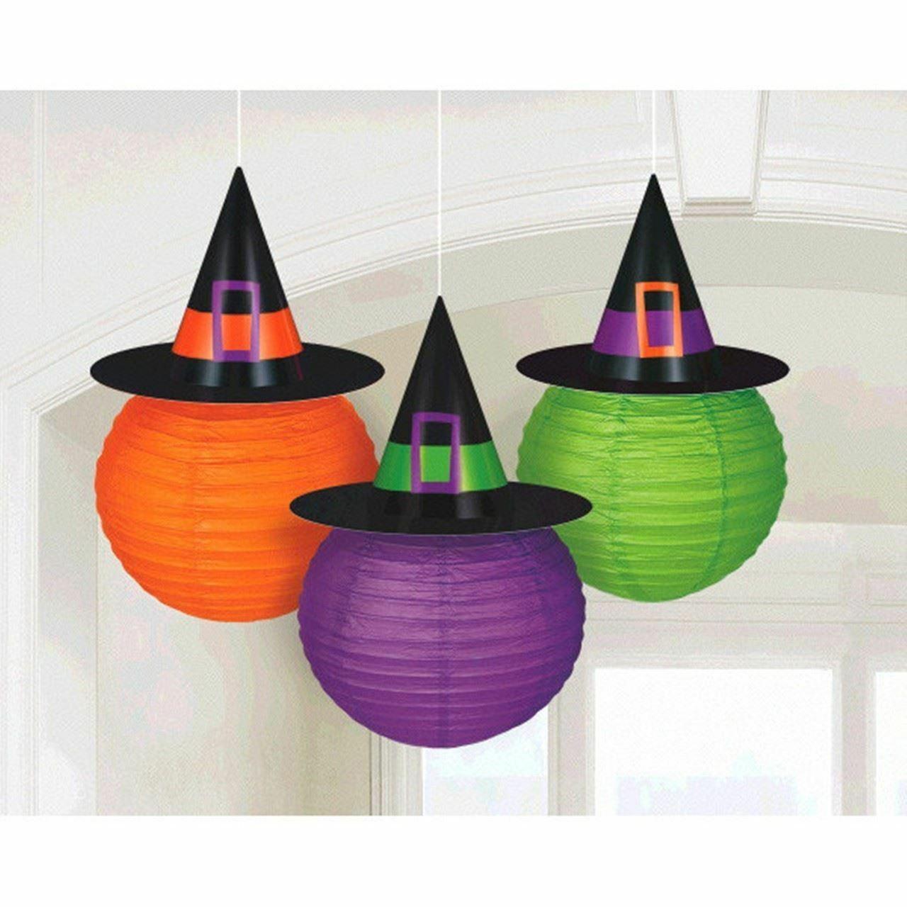 3 Lanterns Witch Hat Halloween Orange Green Purple - $16.33
