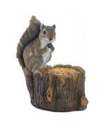 Cute SQUIRREL BIRDFEEDER Figurine on Tree Trunk - $26.71