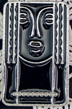 "Charles of the Ritz Art Deco ""Ritz Lady"" abstract pewter & black lacquer... - $19.99"