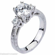 WOMENS DIAMOND ENGAGEMENT 3-STONE RING BRILLIANT ROUND CUT 1.24CT 14K WH... - £3,423.21 GBP