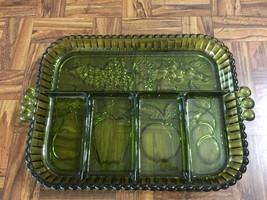 VTG Forest Green Fruit Pattern Depression Glass Handled Divided Serving ... - $11.37
