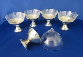 MacBeth Evans Crystal American Sweetheart Sherbet Cups in Chrome Holders - $40.00