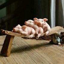 Sleeping Pigs Resin Home Ornament Garden Decoration Figurine - $39.59