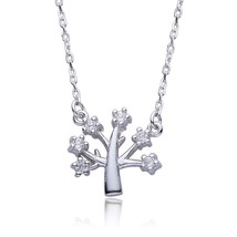 Sterling Silver Tree Cubic Zirconia Pendant Necklace Jewelry for Women 1... - $35.14