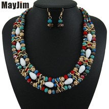 MayJim Vintage Statement crystal Red Necklace jewelry sets African beads... - $26.22