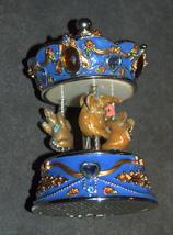 Vintage Decorated Enamel Jeweled Elephant Carousel Music Box  image 5