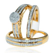 Round Diamond Wedding Trio Bridal Set Engagement Ring 14k Yellow Gold 925 Silver - $154.25