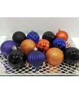 "Christmas Halloween Purple Orange Black Plastoc Ornaments 2.75"" Set Of 12 - $18.99"