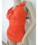 Nwt Lauren Ralph Lauren Ruffled Shirred 1 PC One Piece Swimsuit Sz 6 Cor... - $57.37