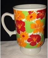 Hawaii Hibiscus Flower Footed Pedestal Coffee Mug Cup Vintage Made in Ja... - $16.69