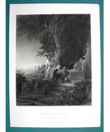 BIBLE Christ Noli Me Tangere Don't Touch Me - SUPERB 1850s Antique Print - $6.75