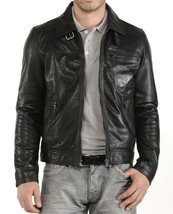 Mens Leather Jacket Stylish Genuine Lambskin Motorcycle Bomber Biker MJ 152 - $149.47