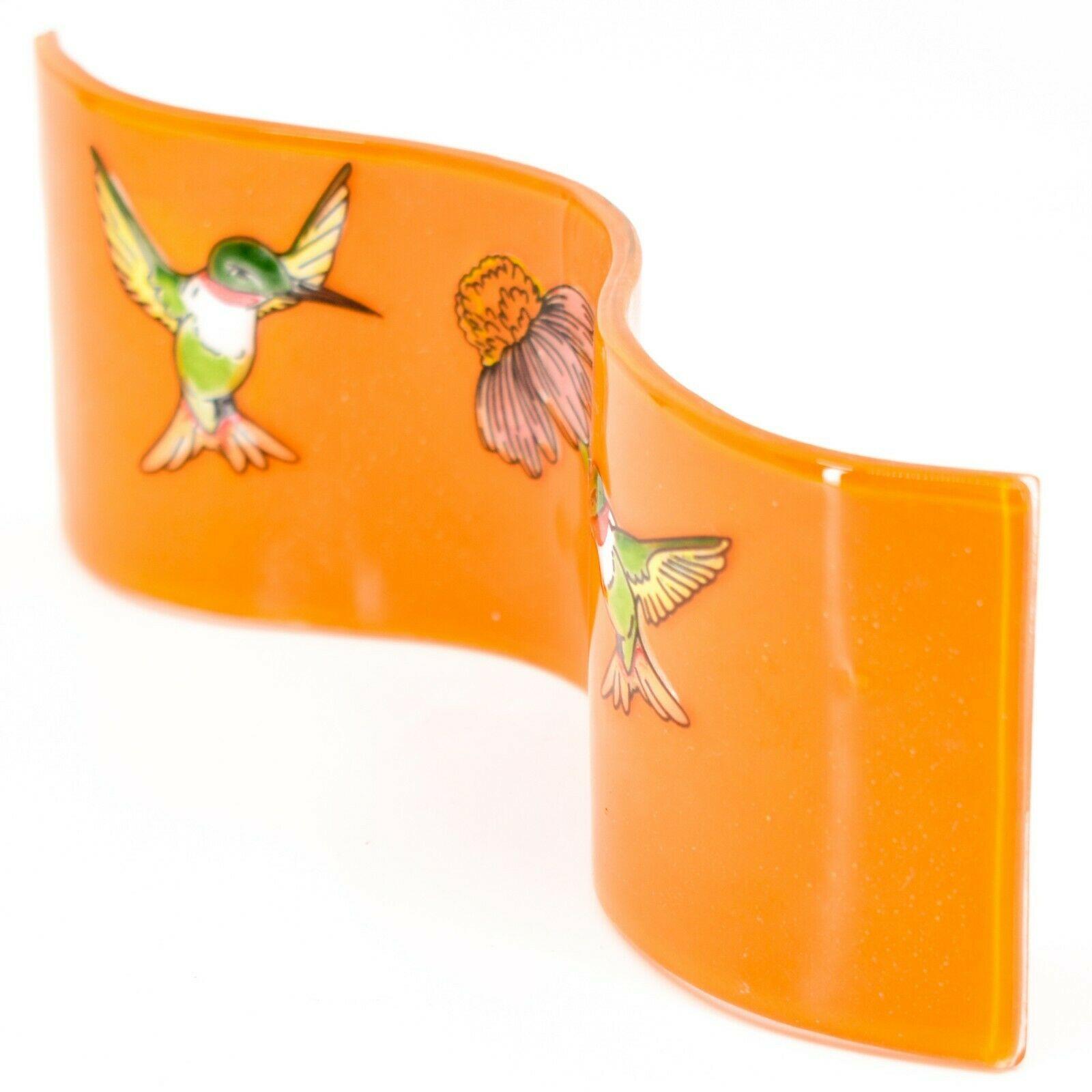 Fused Art Glass Hummingbird & Wildflower Wavy Décor Sun Catcher Handmade Ecuador
