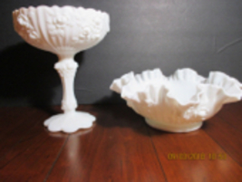 Fenton Milk Glass vintage Cabbage Rose Compote and Crimped Edge ftd Bowl - $29.99