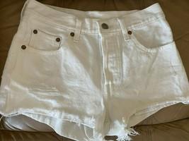 Levi's 501  white Denim Jean Shorts Button Fly Frayed Hem waist 26 cut off  - $12.86