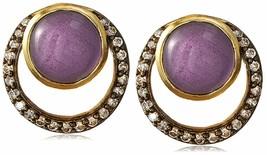 "Blossom Box 3/4"" Gold Plated 10mm Purple Amethyst & Crystal Stud Earrings NWT"