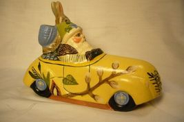 Vaillancourt Folk Art Spring Santa in Car with Rabbit personally signed by Judi image 3
