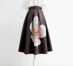 Black Midi Party Skirt with Pockets A-line Floral Black Party Skirt Outfit image 5