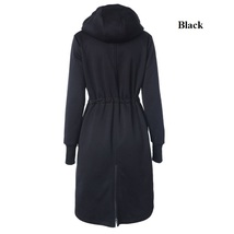 2017 Winter Long Hoodies Straight Drawstring Jackets Cotton Thick Size S-2XL image 5