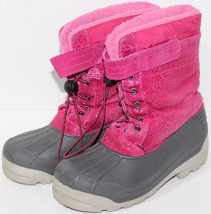Girls LANDS END PINK LEATHER UPPER Rubber Sole WATERPROOF WINTER BOOTS S... - $32.66