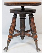 Vintage Antique Piano or Organ Round Stool with Glass Ball & Cast Iron C... - $297.00