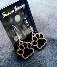 Black Enamel Paw Print Dangle Earrings - $14.00