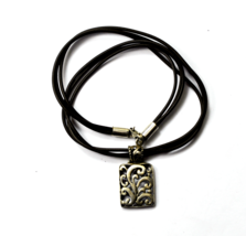 "Sterling 17"" Brown Leather Cord Necklace 1-3/8"" Pendant Rectangle Filigree  - $31.67"