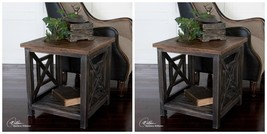 TWO ANTIQUED BLACK SOLID RECLAIMED FIR WOOD END SIDE TABLE WORN VINTAGE ... - £544.90 GBP