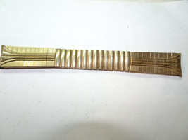 Timex Vintage NOS Timex Metal gold filled caps stretch Watch Band - $111.27