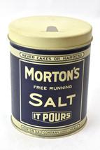 """Vintage 1985 Mortons Salt Blue Tin Pour Spout design Lid 5"""" Tall  Bristo... - $22.72"""