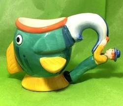 Nestle Carnation Coffee-Mate Whimsical Fish coffee mug with fisherman ha... - $9.85