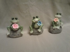 New !!!  3 Frog Special   Saying : Love, Peace, Hope  Made out of Resin - $13.85