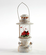 """10""""  Water Lantern w Two Red Cardinals - Lights Up w Floating Glitter image 1"""