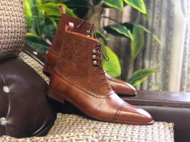 Handmade Men's Brown High Ankle Lace Up Leather & Suede Boots image 1