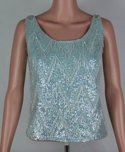 Vintage women's blouse blue sequin beaded sleeveless wool Hong Kong size L - $50.00