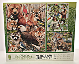 Three Jigsaw Puzzles One Box Nature Scenes Harmony Collection Made in US... - $23.76