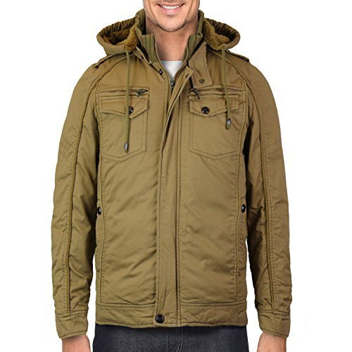 Maximos Men's Hooded Multi Pocket Sherpa Lined Bomber Jacket (Large, Camel)