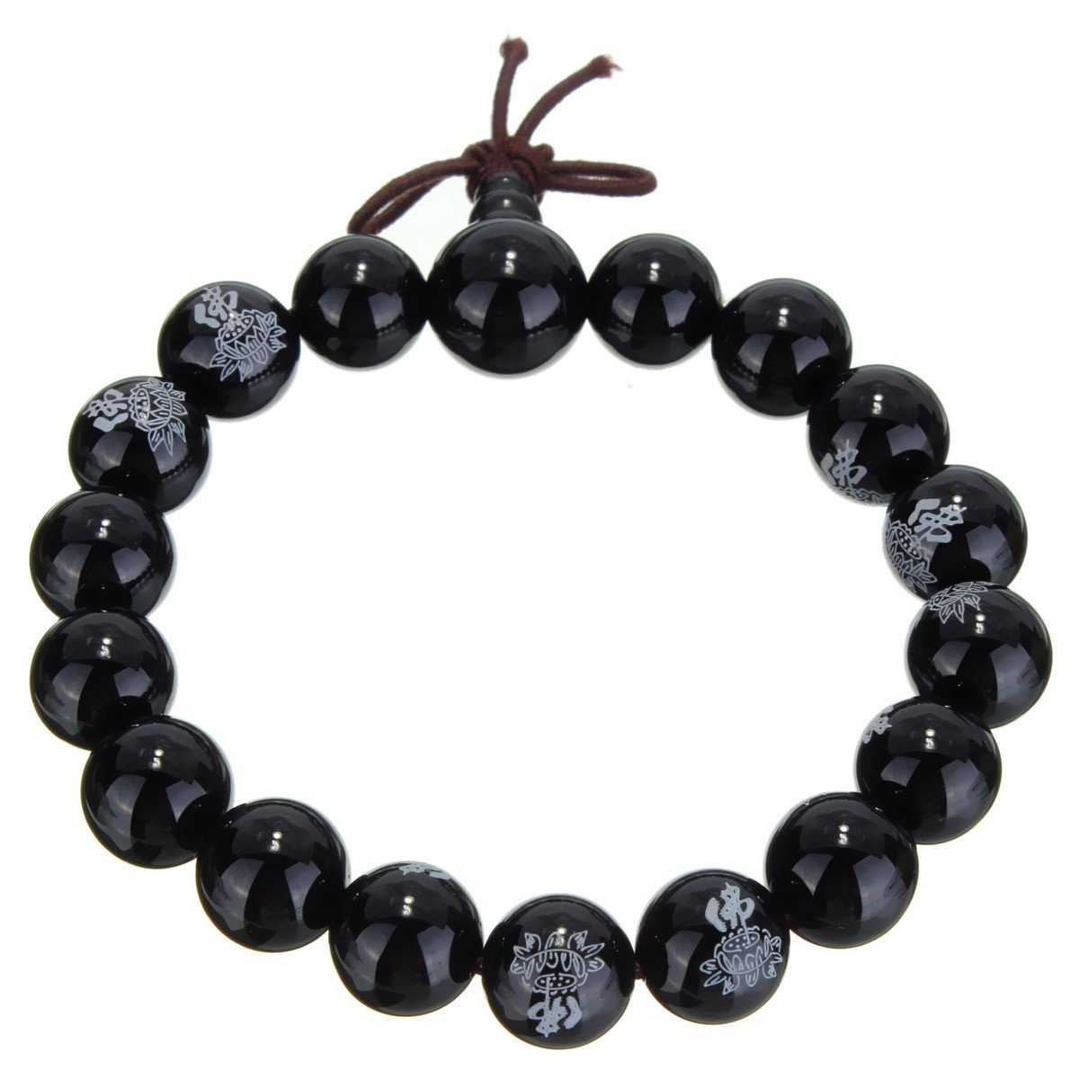 Black Agate Mala with Lotus Flower Engraving image 2