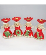 Napco 1628 red poinsettia NOEL angel candle holders hand painted Japan - $56.89