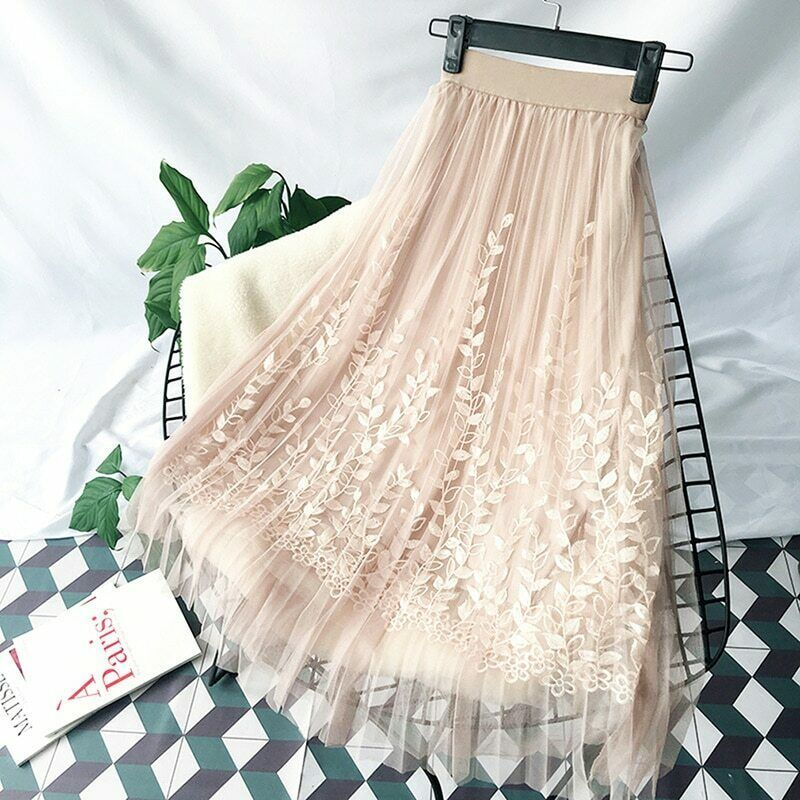 Primary image for Floral Embroidery A-line Tutu Lace Mesh Skirt Women Elegant Tulle Long Pleated
