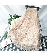 Floral Embroidery A-line Tutu Lace Mesh Skirt Women Elegant Tulle Long P... - $15.99